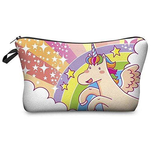 Liaosize Cute Graphic Pouch Reise Fall Kosmetische Make-up Tasche(22cm*13.5cm) (Star Einhorn)
