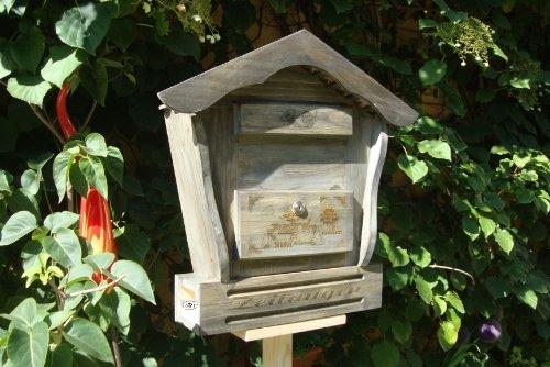 Briefkasten, Holzbriefkasten HBK-SD-SCHWARZ aus Holz schwarz anthrazit dunkelgrau grau in amazon umweltfreundlich lasiert Holz unbehandelt Briefkästen Postkasten Spitzdach (auch hellgrau verfügbar)