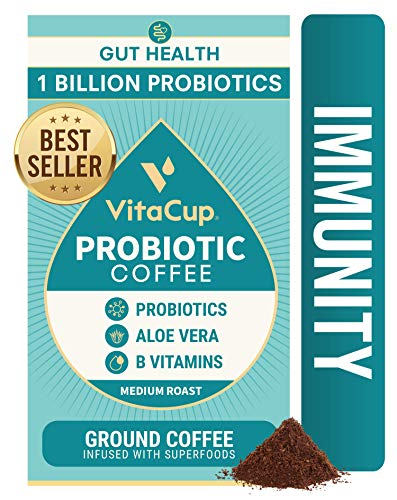 VitaCup Probiotic Coffee Ground 12oz w/ Aloe Vera, Probotics & Vitamins for Digestion & Immunity Support for Drip Coffee Brewers & French Press