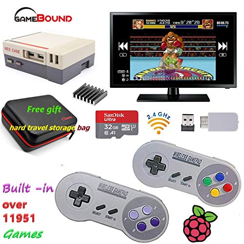 NES RetroPie 3B+ Gaming System & Emulation Station, 2 Wireless Controllers, NES TRAVEL CASE