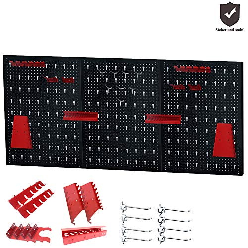 Froadp Lochblech Werkzeuglochwand aus Metall mit 17 teilge Hakenset 120 x 60 x 2 cm Werkzeugwand Lochwand für Werkstatt Schwarz und Rot