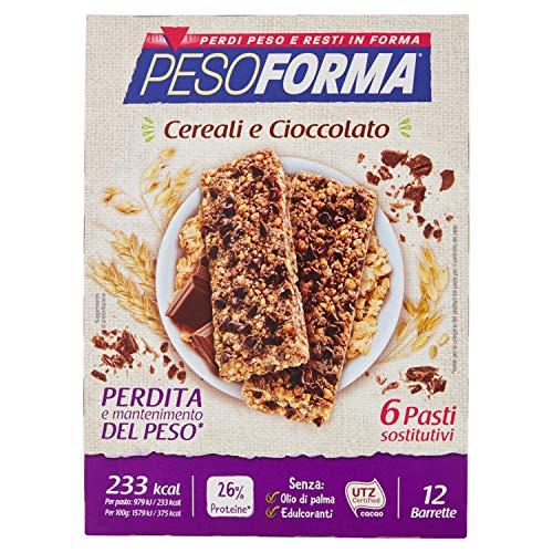 Pesoforma Barrette Cereali Croccanti e Cioccolato, Pasti sostitutivi dimagranti, Ricco in proteine - 12 x 31 g
