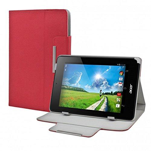 eFabrik Tasche Hülle für Acer Iconia One 7 (B1-730HD) 7.0 Zoll / 17.8 cm Tablet-PC Schutztasche Zubehör Schutzhülle Cover Hülle Kunstleder rot