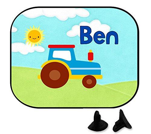wolga-kreativ Auto Sonnenschutz und Sonnenblende Kinder Mädchen Junge Traktor Trekker mit Name für Baby und Kind personalisiert Wunschname Bedruckt