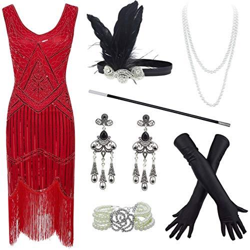 20s Flapper Gatsby - Vestido de cóctel con cuentas de lentejuelas y accesorios - Rojo - XXXL