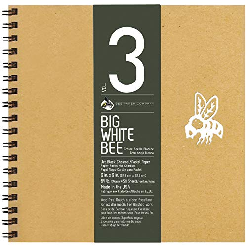 Bee Paper Company BEE-204CB50-909 Big White Bee Drawing Pad, 9 by 9-Inch, Black Charcoal