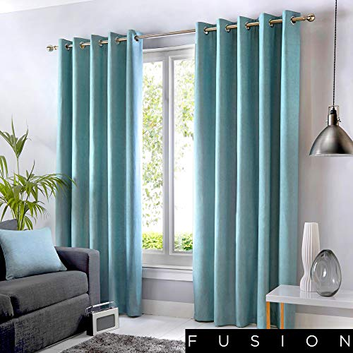 Fusion - Sorbonne - 100% Cotton Pair of Eyelet Curtains - 90' Width x 72' Drop (229 x 183cm) in Duck Egg