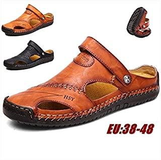 Men's Genuine Leather Sandals Breathable Beach Slippers Summer Shoes Size EU 38-48(Light Brown,EU 42)
