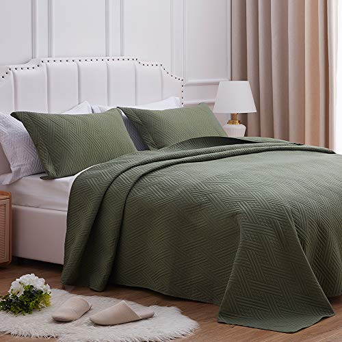 SunStyle Home Quilt Set Full/Queen Size,Olive Green Diamond Pattern Bedspread-90 x96, Soft Lightweight Microfiber Coverlet, Luxurious Warm Bed Cover for All Seasons-3 Pieces(1 Quilt, 2 Pillow Shams)