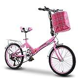 YSHCA 16 Pulgadas 6 velocidades Plegable Bicicleta, Marco de Acero al Carbono Bicicleta Plegable Street con Estante y Cesta Bicicleta Plegable Urbana,Pink-B