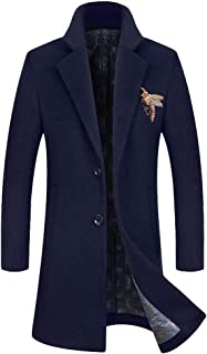 Men's Embroidery Wool Coat Notched Collar Slim Fit French Business Overcoat