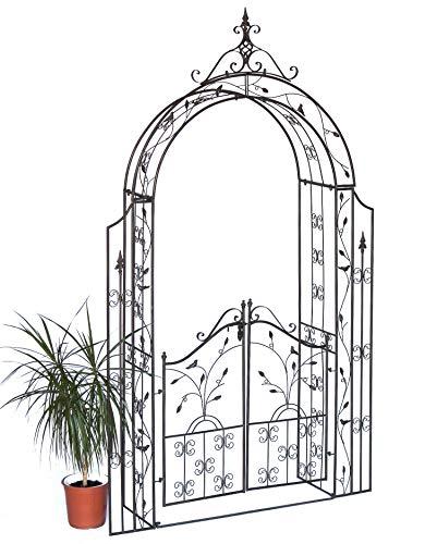 DanDiBo Rosenbogen mit Tür Metall 18604 Torbogen Gartentor Eisen Rankhilfe Rankgitter Rundbogen Tür