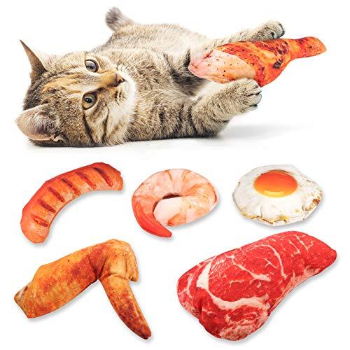 Woiworco Große Größe Spielzeug mit Katzenminze, 6 Stück katzenspielzeug Set | Katzenminze Plüsch Spielzeug | Fleisch, Eier, Hähnchenschenkel, Garnelen, Würstchen, Hähnchenflügel