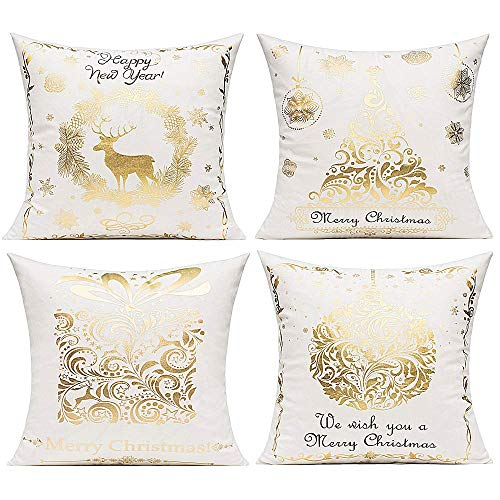 Merry Christmas Gold Stamping Velvet Decorative Throw Pillow Covers Modern Christmas Tree Reindeer Snow Gift Cushion Cases Xmas Holiday Bronzing Home Decor for Couch Sofa Bed 18x18 Inch Set of 4