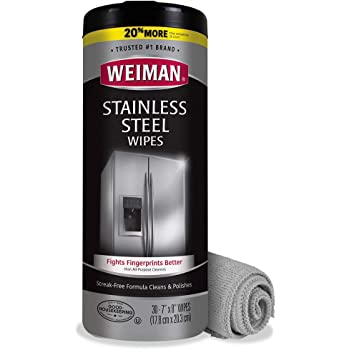 Weiman Stainless Steel Cleaning Wipes (Large Microfiber Cloth) Non-Toxic Removes Fingerprints Residue Water Marks and Grease from Appliances - Works Great on Refrigerators Dishwashers Ovens Grills