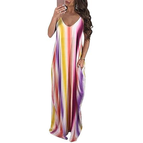 45d1e19d15 Aro Lora Women's Colorful Stripes Spaghetti Strap V Neck Loose Long Maxi  Dress with Pockets