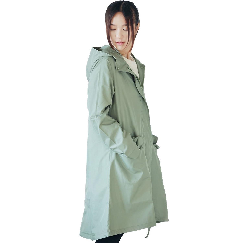 抹茶グリーン大人のファッションかわいいレインコートポンチョ雨具1003  帽子テザーと裾のネクタイ