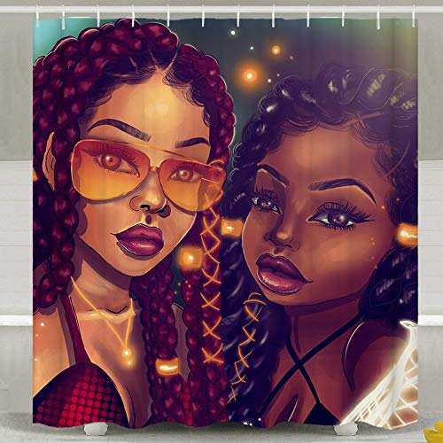SARA NELL Black Art Afro Black Mom and Daughter African American Women Shower Curtain,Waterproof