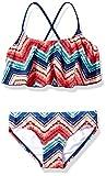 Kanu Surf Girls' Alania Flounce Bikini Beach Sport 2 Piece Swimsuit, Kirsten Coral Chevron, 12