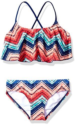 Kanu Surf Girls' Big Alania Flounce Bikini Beach Sport 2 Piece Swimsuit, Kirsten Coral Chevron, 14