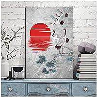 現代のキャンバスアートプリントポスター壁画写真グラフィックス写真壁画アートレッドクラウンクレーン30x45cmフレームレス