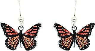 Monarch Butterfly Earrings by d'ears Non-Tarnish Sterling Silver French Hook Ear Wire
