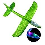 Leebaby Avions Planeurs Volants avec Flash LED 18.9'Mode de vol en Mousse jetant Un Avion air acrobatique Avion Sport en Plein air Jeu Jouets Cadeau pour Les Enfants 3 4 5 6 7 Ans garçon Vert