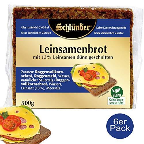 Schlünder Leinsamenbrot - Vollkornbrot aus Roggenvollkorn & 13% Leinsamen, 100% natürlich & vegan, Dauerbrot, reich an Ballaststoffen & Omega-3 Fettsäuren, Bäcker-Brot made in Germany, 6x500g
