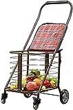 LHQ-HQ - Carro de la carretilla de la compra portátil plegable multifunción, coche del supermercado 4 ruedas y fácil de usar y ideal para la carretilla de la movilidad