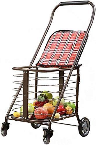 CENPEN Carro portátil plegable multifuncional de la carretilla de la compra, coche 4 ruedas del supermercado y fácil de usar y grande para la movilidad