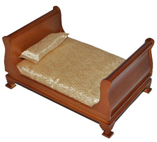 alles-meine.de GmbH Bett / Ehebett aus dunklem Holz - Maßstab 1:12 - Puppenbett Puppe für die Puppenstube Miniatur Puppenhaus - Puppenbett Holzbett Nostalgie