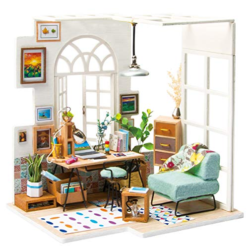 Rolife DIY Wooden Miniature Dollhouse Kit with Led Light-Mini House Woodcraft Construction Kit-3d Wooden Puzzle-Model Building Sets-Perfect Birthday for Boys and Girls (Office)