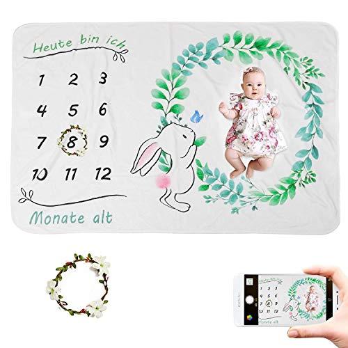 JMITHA Baby Monats Decke, Neugeborene oenbopo Baby Monatliche als Foto Hintergrund mit Meilenstein-Druckmuster (Kaninchen) 100x150cm