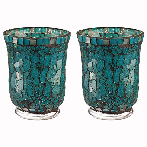 Amber Home Goods Blue Moon Glass Hurricane Holder Functional Table Decorations Centerpieces for Dining/Living Room-Best Wedding Gift Candle Stick Accent Décor (Set of 2) Small