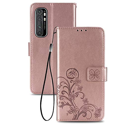 TOPOFU Handyhülle für Xiaomi Mi Note 10 Lite Hülle, Superdünne Premium Leder Tasche Hülle Flip Wallet Schutzhülle mit Ständer & Kartenfach für Xiaomi Mi Note 10 Lite (Roségold)
