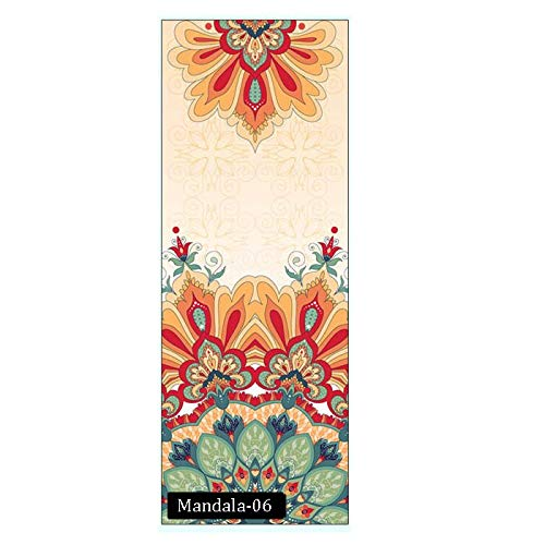 N / A Mandola Bedruckte Matte Yoga Handtuch Wildleder Silica Gel Antiskid Tragbare Reise Yoga Matte Abdeckung Pilates Workout Fitness Decke 185cm * 68cm