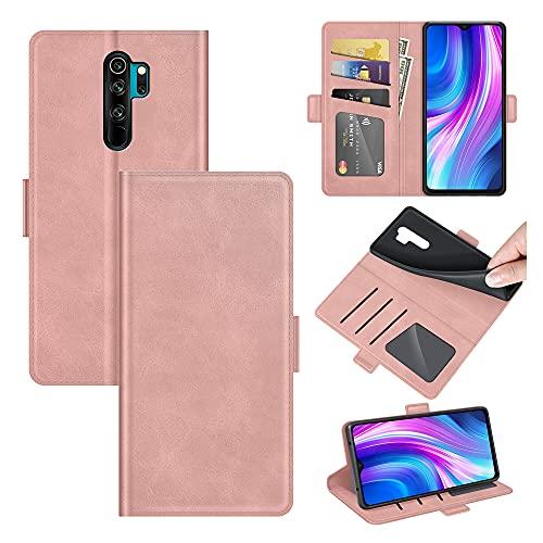 AKC Funda Compatible para Xiaomi Redmi Note 8 Pro Carcasa Caja Case con Flip Folio Funda Cuero Premium Cover Libro Cartera Magnético Caso Tarjetero y Suporte-Oro Rosa