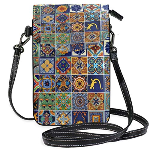 XCNGG bolso del teléfono Mexican Tiles Cell Phone Purse Wallet for Women Girl Small Crossbody Purse Bags