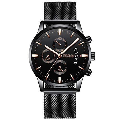 Luxusmarke CRRJU Herrenuhren Mode Wasserdicht Schwarz Mesh Edelstahlband Analog Quarz Chronograph Armbanduhr Klassische Lässig Datum Uhr