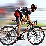Lightweight Aluminum Road Bike - 700c Wheels Mountain Road Bike Begasso Simanos Aluminum Frame Full Suspension, 21 Speed Disc Brakes Mens/Womens Fashionable Road Bicycles (Black,US Stock)