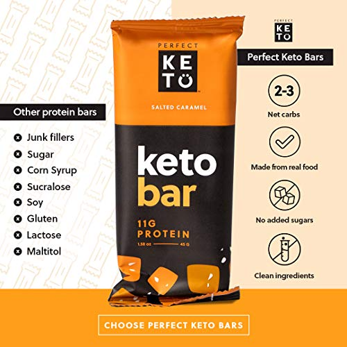 Perfect Keto Bars - The Cleanest Keto Snacks with Collagen and MCT. No Added Sugar, Keto Diet Friendly - 3g Net Carbs, 19g Fat,11g protein - Keto Diet Food Dessert (Salted Caramel, 12 Bars) 5