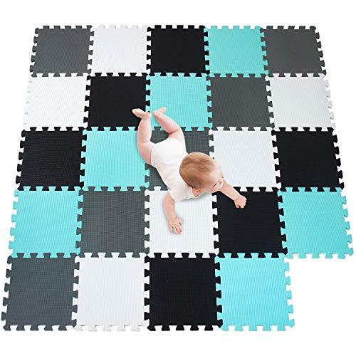 meiqicool Alfombrillas para Puzzles | Alfombra Puzzle para Niños Bebe Infantil Suelo de Goma EVA Suave 142 x 142 cm 24 Piezas Blanco-Negro-Turquesa-Gris