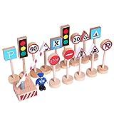 ghhshjhlk 16pcs / Set en Bois Rue Route Panneaux De Signalisation Modèle Modèle Enfants éducatifs Jouet Parent-Enfant Jouets Interactifs Cadeau De Noël 16pcs