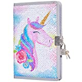 MHJY Sequin Unicorn Journal Secret Diary with Lock,Reversible Mermaid Sequin Notebook Private Journal