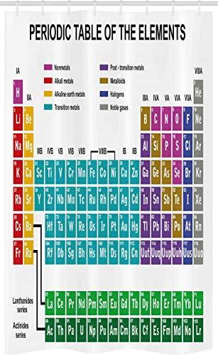 ABAKUHAUS Periodensystem Schmaler Duschvorhang, Chemie auf Englisch, Badezimmer Deko Set aus Stoff mit Haken, 120 x 180 cm, Mehrfarbig