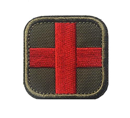 Parche bordado de cruz táctica Ohrong para primeros auxilios, insignia EMS EMT con insignia de Insignia y reverso de gancho y bucle Army green