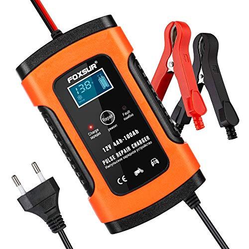 opamoo Batterie Ladegerät Auto, Autobatterie Ladegerät, 5A 12V Vollautomatisches Batterieladegerät Auto Erhaltungsladegerät mit LCD Mehrfachschutz für Autobatterie, Motorrad, Rasenmäher oder Boot