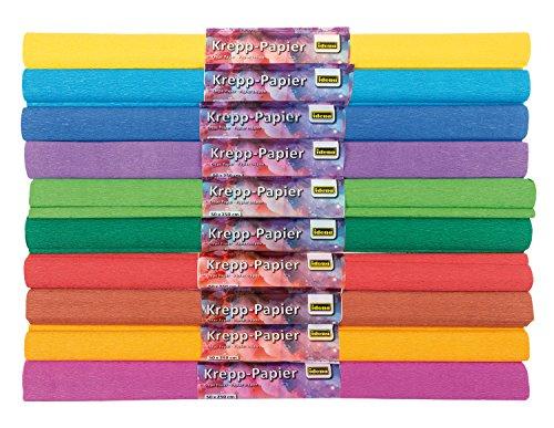 Idena 10122907 - Krepppapier Farben sortiert, 10 Rollen, je ca. 50 x 250 cm, für kreativen Bastelspaß und individuelle Dekoration