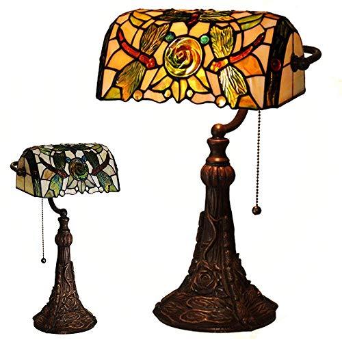 Lámpara de mesa antigua Lámpara de mesa estilo LEILEI Lámpara de mesa manual de vidrio de color de 14 pulgadas lámpara de mesilla de noche Lámpara de escritorio E27 con base de resina y crem