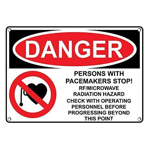 Carlena OSHA Herzschrittmacher Stop! Metallschild, RF/Mikrowellen-Strahlung, Vintage, Folien-Poster für Geschäft, Bar, Zuhause, Wanddekoration, 20,3 x 30,5 cm